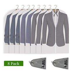 Perber Hanging Garment Bag 8 Pack Clear Full Zipper Suit Bags (Set of 8) PEVA Moth-Proof Breatha ...