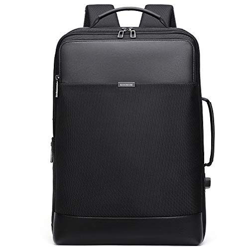 Expandable Large Leather Laptop Backpack Men Professional Slim Anti Theft Business Work Carry on ...