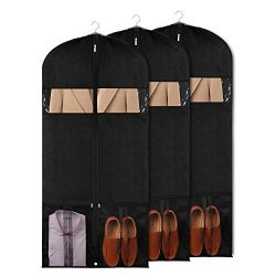 Univivi Garment Bags for Dance Costumes 60″ Foldable (3 Pack) Dance Dress Bag with 2 Zippe ...