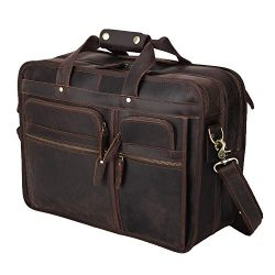 Polare Modern Messenger Bag with Retro Feel 17″ Men's Laptop Briefcase with Full Gra ...