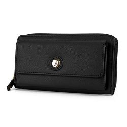 Nautica Bulk Cargo Womens RFID Wallet Clutch Zip Around Organizer (Black)