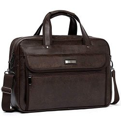 WESTBRONCO Leather Briefcase for Men Laptop Expandable Large Capacity Shoulder Messenger Bag for ...