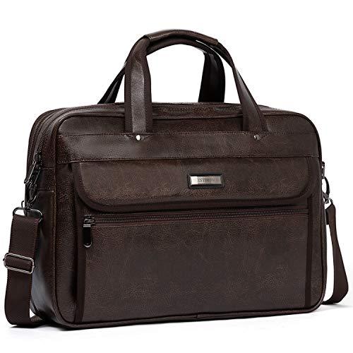 WESTBRONCO Leather Briefcase for Men Laptop Expandable Large Capacity Shoulder Messenger Bag for ...