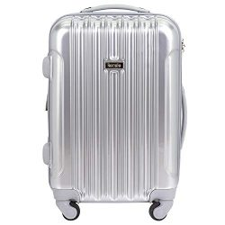 "kensie 20″ ""Alma"" Carry-On TSA-Lock Spinner Luggage, Silver"