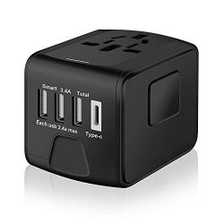 SAUNORCH Universal International Travel Power Adapter W/ High Speed 2.4A USB, 3.0A Type-C Wall C ...