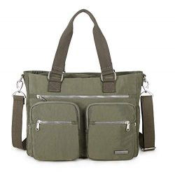 Crest Design Nylon Shoulder Bag Handbag, Teacher Nurse Tote Organizer (Army Green)