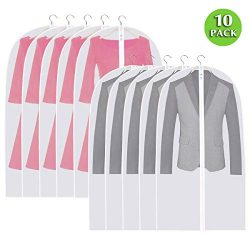 "Ationgle Clear Garment Bags 24""x43"" 10 Pack – Hanging Cover Suit Bag Protector ..."