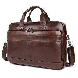 Augus Leather Messenger Bag for Men Vintage Travel Backpack 17 inch laptop Briefcase Shoulder Ba ...