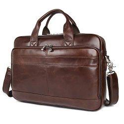 Augus Leather Messenger Bag for Men Vintage Travel Backpack 17 inch laptop Briefcase Shoulder Ba ...