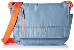 Vera Bradley Women's Lighten Up Laptop Messenger, Mineral Blue