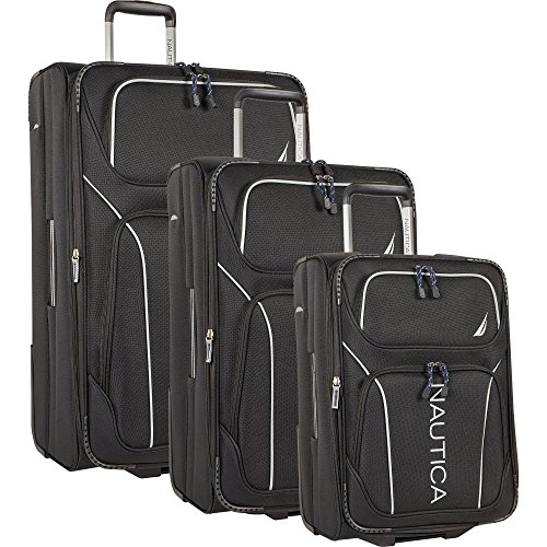 Nautica 3 Piece Luggage Set-Lightweight for Travel2, Black/Grey