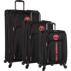 Timberland 3 Piece Expandable Spinner Luggage Set, Black