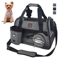 Premium Pet Carrier Dog Carrier Cat Carrier with Bowl and Dog Training Pouch, Travel Pet Carrie ...