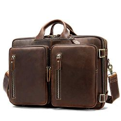 Business Travel Briefcase Genuine Leather Duffel Bags for Men Laptop Bag fits 15.6 inches Laptop ...