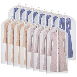 Univivi Clear Garment Bag Lightweight Dresses Bags (Set of 16) Hanging Garment Cover, Full Zippe ...