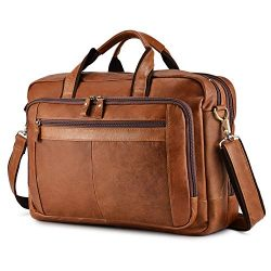 BAIGIO Men's Leather 17″ Laptop Business Briefcase Shoulder Tote Bag Portfolio Satch ...