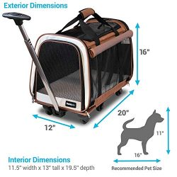 FrontPet Rolling Pet Travel Carrier with 6 Removable Wheels and Backpack Straps, Strong Breathab ...