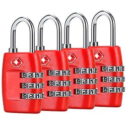TSA Luggage Locks (4Pack) – 3 Digit Combination Padlocks – Approved Travel Lock for  ...