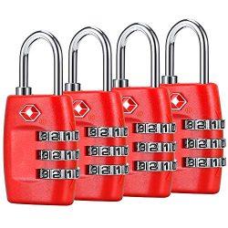 TSA Luggage Locks (4Pack) – 3 Digit Combination Padlocks – Approved Travel Lock for  ...