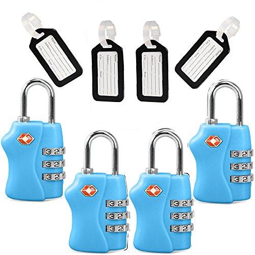 TSA Travel Locks Security 3 Digit Combination Locks Suitcase Luggage Bag Code Lock Padlock 4 Pac ...
