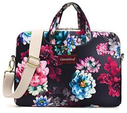 Canvaslove Color Lotus Pattern Water Resistant Laptop Shoulder Messenger Bag Case for MacBook Pr ...