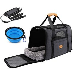 Dog Cat Travel Carrier, Airline Approved Pet Carrier Portable Soft Sided Collapsible for Small D ...
