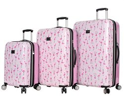 Betsey Johnson Luggage Hardside 3 Piece Set Suitcase With Spinner Wheels (20″ 26″ 30 ...