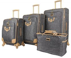 Nicole Miller Designer Luggage Paige Collection – 4 Piece Softside Lightweight Expandable  ...