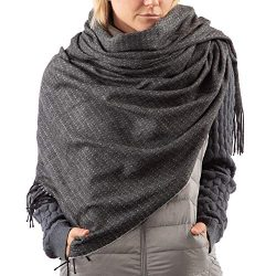 ISOTONER Women's Large Blanket Cold Weather Soft and Warm Travel Scarf, One Size, black