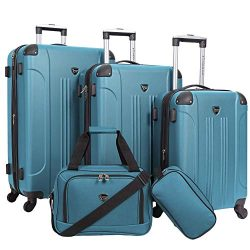 Travelers Club Spinner Expandable Luggage Sky+, Teal – 5 Piece Set