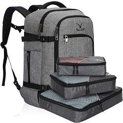 Hynes Eagle Travel Backpack 40L Flight Approved Carry on Backpack, Light Grey with 3PCS Packing  ...