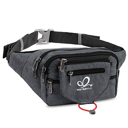 WATERFLY Fanny Pack for Men Women Large Waist Pack with Multi Pockets for Running Hiking Camping ...
