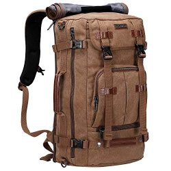 WITZMAN Canvas Backpack Vintage Travel Backpack Hiking Luggage Rucksack Laptop Bags (A519-1 Brown)