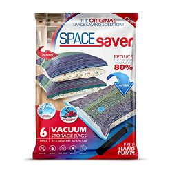 Spacesaver Premium Vacuum Storage Bags. 80% More Storage! Hand-Pump for Travel! Double-Zip Seal  ...