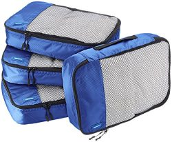 AmazonBasics 4 Piece Packing Travel Organizer Cubes Set – Medium, Blue