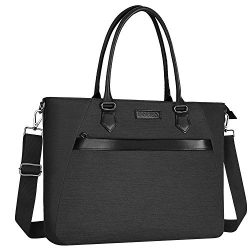 MOSISO Woman Laptop Tote Bag (Up to 17.3 inch),Water Repellent PU & Polyester Work Business  ...