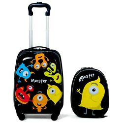 Modern Nice 2 pcs Kids Luggage Set 12″ Backpack & 16″ Rolling Suitcase Large Lig ...