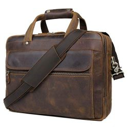 YOGCI Mens Leather Briefcase Messenger Laptop Bag for Business Travel, Fits 13 14 15 Inch Comput ...