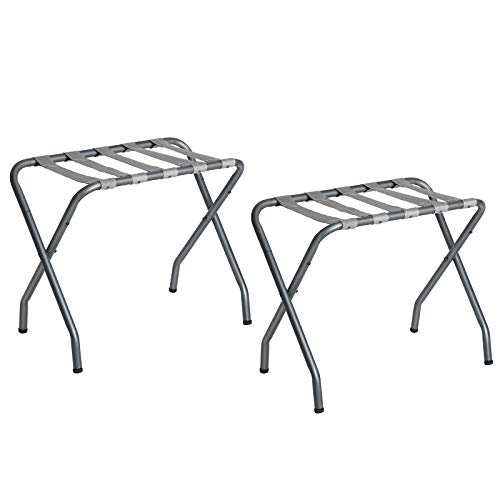 SONGMICS Metal Folding Luggage Rack, Pack of 2, Gray URLR64GS-2