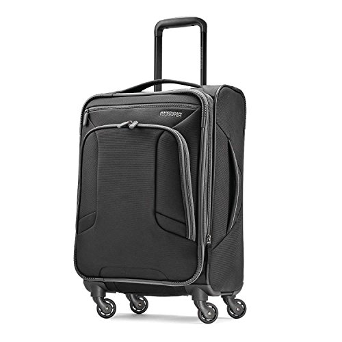 American Tourister 4 Kix Expandable Softside Luggage with Spinner Wheels, Black/Grey