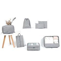 AINAAN Travel Storage Bag / 7 pcs Set Luggage Organizer Packing Cubes,Compression Pouch, 2019, Gray