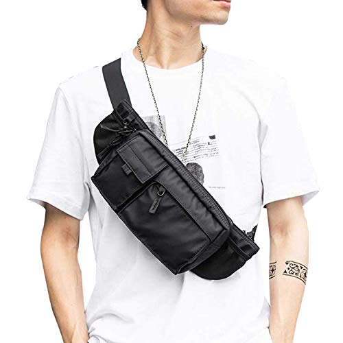 Large Waterproof Black Waist Bag Fanny Pack For Men Women Belt Bag Pouch Hip Bum Bag Chest Bag w ...