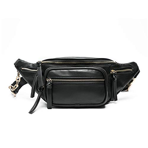 miss fong Fanny Packs for Women, Belt Bag, Waist Bag, Leather Fanny Pack with 9 Pockets. (Black)