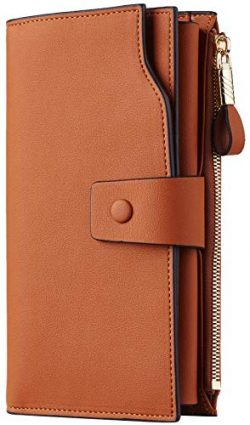 Travelambo Womens RFID Blocking Large Capacity Luxury Waxed Genuine Leather Clutch Wallet Multi  ...