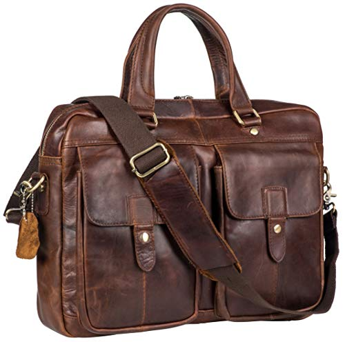 Genuine Leather Messenger Bag Briefcase for Men Fits 15.6 Inch Laptop with Padded Protection