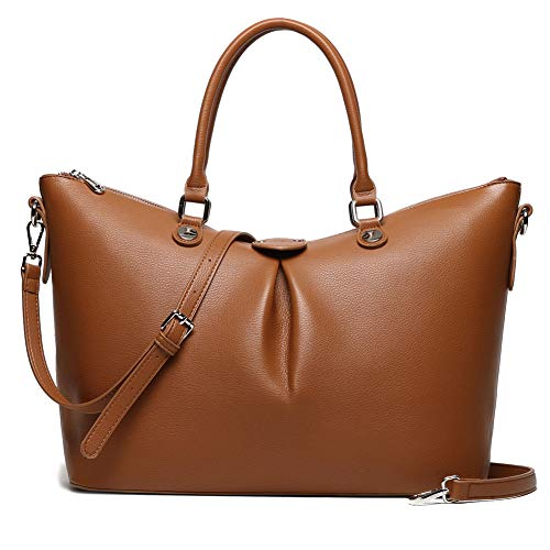 Laptop Tote Bag for Women 15.6inch Leather Business Office Work Bag Travel Handbag with Shoulder ...
