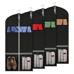 Syeeiex Suit Bags Breathable Garment Storage Bag with 2 Large Mesh Pockets and Clear Window for  ...
