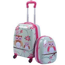 GYMAX Kids Carry On Luggage Set, 12″ & 16″ 2PCS Kids Suitcase with Adjustable Tr ...