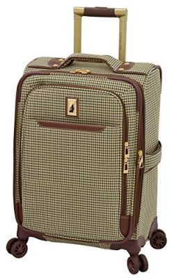 London Fog Cambridge II 20″ Expandable Spinner, Olive Houndstooth
