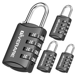 GIVERARE 4 Pack Combination Lock, 4-Digit Padlock Keyless, Resettable Luggage Locks for Backpack ...